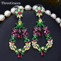 2016 Summer Jewelry Long Flower Drop Bohemian Earrings With Yellow Green Red Multicolor Cubic Zirconia Diamond