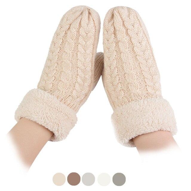 1 пара, новые Бренд 2016 г. Варежки женские теплые зимние модные трикотажные кашемир витой теплые перчатки аксессуары оптом
