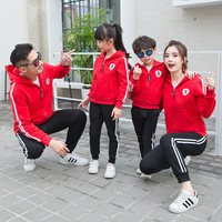 New Fresh Red Family Clothing Sets Red Hoodies and Black Pants Active Style Family Matching Suits