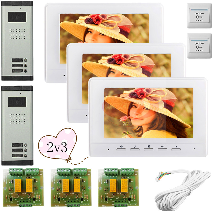 2 Doors 3 Buttons Infared CCD Camera For 3 Apartments Color 7 HD 700lines Video DoorPhone Intercom System In Stock!