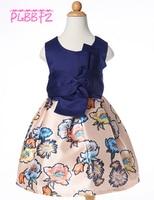 Retail Dark Blue Floral Dress For Kid Girl Girl Party Dress First Communion Dresses For Girls