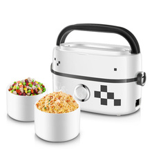 DMWD 1L Portable Electric Cooker Food Heater Heating Lunch Box With Separate 2 Ceramic Inner Pot For Steaming Boiling
