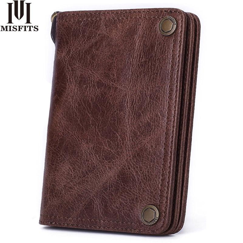 MISFITS Men Wallet Genuine Leather Fashion Clutch Wallet Brand Design Purses With Coin Pocket Card Holder Women Short Hasp Purse