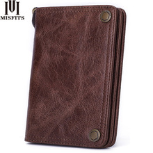 MISFITS men wallet genuine leather fashion clutch wallet brand design purses with coin pocket card holder Women short hasp purse