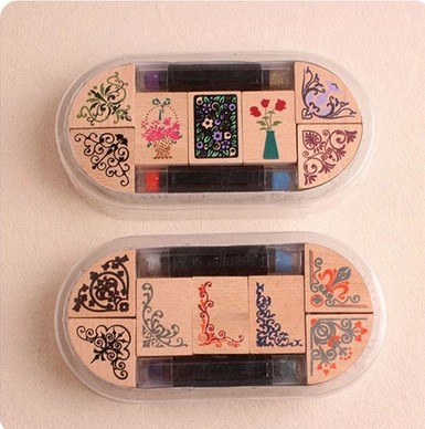 New 2018 Lace Corner Woden Stamp+2 Ink Pad DIY Wooden Vintage Flower Crafts Stamps For Diary Decoration Scrapbooking Gifts 20 colors can choose diy scrapbooking vintage crafts ink pad colorful inkpad stamps sealing decoration stamp