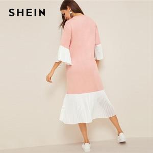 Image 2 - Shein slogan impressão plissado plissado hijab vestido de verão feminino casual solto flounce manga midi vestido rosa meia manga vestido longo