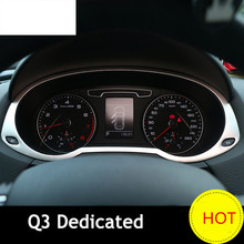 цена на Car styling Interior Instrument panel decorative frame cover trim For Audi Q3 Dashboard decal Stainless steel sticker 2013-2017