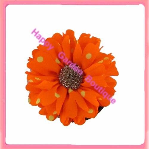 Горячая распродажа! 12 шт/партия флюоресцентные точки в горошек Шелковый в форме цветка для волос держатель