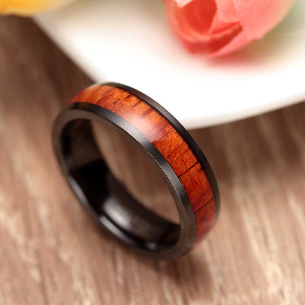 2 sztuk czarny tytanowe pierścionki z drewno mahoniowe wkładka 6MM i 8MM kobiety mężczyźni jego i jej zestaw obrączek ślubnych pasujące obrączki ślubne