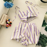 Woman Sets Two Piece Sets Ladies Stripe V neck sleeveless Short Sling Tops High Waist Pocket Casual Shorts Woman Suits Lady Suit