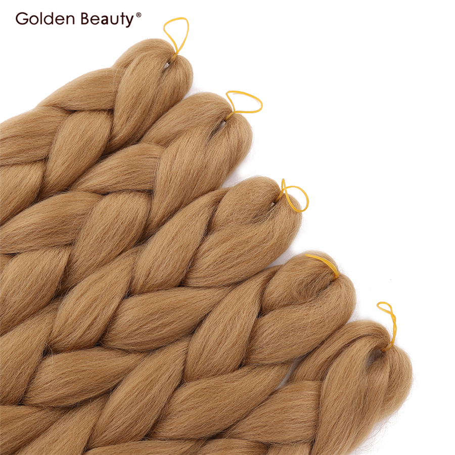 24 дюйма длинные вязаные косы Наращивание волос Синтетические волосы оплетки цветные jumbo твист Золотой Красота 100 г