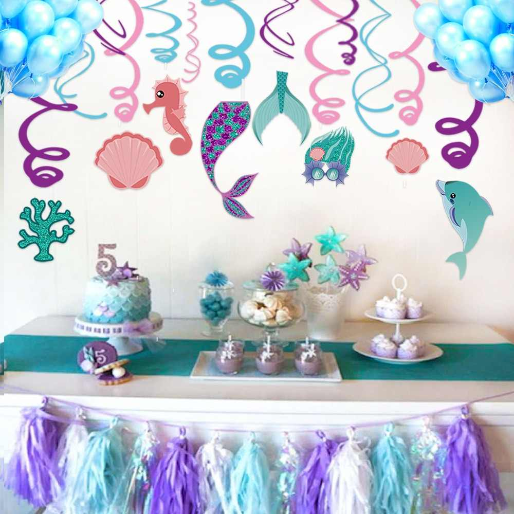 30pcs/set Mermaid Theme Birthday Party Decorations PVC Ceiling Hanging Swirl Wedding Spiral Ornament Party Supplies XL023