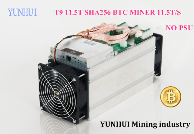 YUNHUI Mining industry sell Bitcoin Miner AntMiner T9 11.5TH/s (NO PSU) 16nm BTC Mining machine Power Consumption 1450W on wall