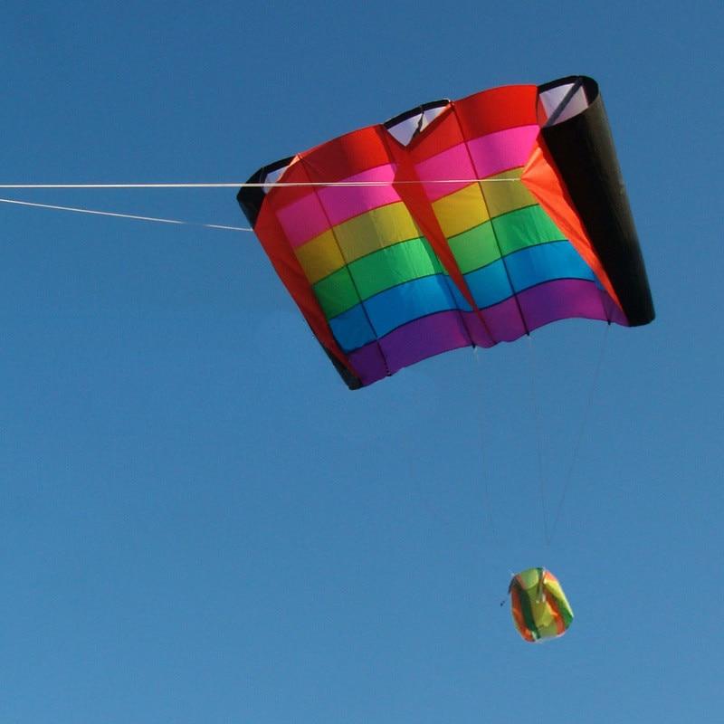 Cerf-volant Parafoil multicolore professionnel 230 cm/cerfs-volants arc-en-ciel souples avec outils volants cerf-volant de plage - 3