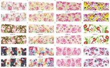 цена на flower stickers nail art water Transfers decals Wraps 12 Pattern Water Transfer Nail Sticker 12 sheet/lot BN061-072