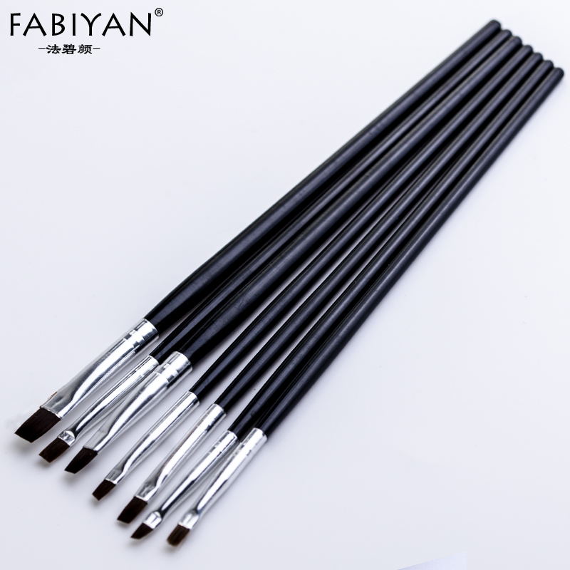 7 Size Nail Art Brush Flat Acrylic Drawing Pen UV Gel Polish French Design Painting Extension Builder Coating Tools Set Manicure цена