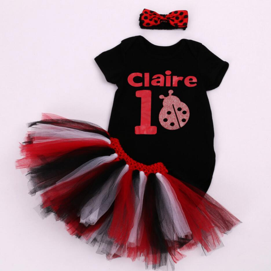3PCs per Set Short Sleeves Black White Baby Girl Number 1 Claire Dress Infant Party Outfit Spot Ladybird Romper Skirt Headband
