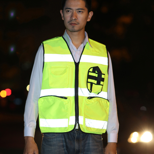 Reflective Vest Waterproof High Visibility Safety Clothing Multi pockets Fluorescent Yellow Clothes Waistcoat Outdoor Workwear 2
