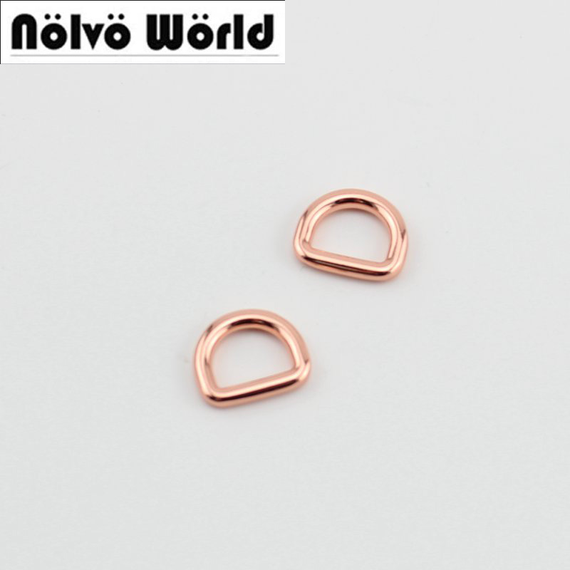50pcs Rose gold inside 13mm 1/2 inch diy bags metal accessory alloy gold round edge welded d ring sewing part metal ring holder for smartphones rose gold