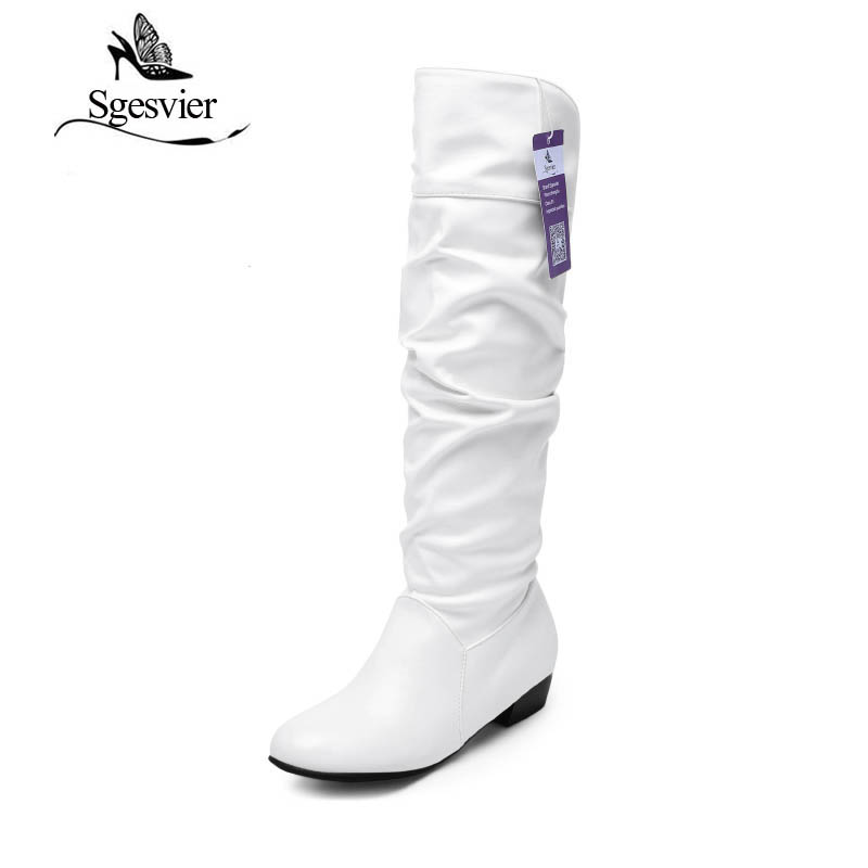 SGESVIER STIEFEL Mode Neuankömmling Winter Mittler Kalb Frauen Stiefel  Schwarz Weiß Braun Wohnungen Heels Stiefeletten Herbst Schnee Schuhe OX018