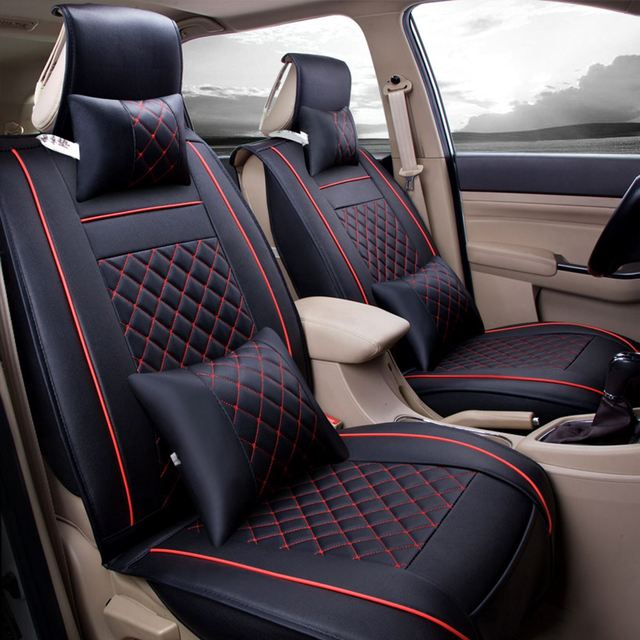 7pcs 5 seat car black red interior front seat rear seat cover cushion pad set car interior. Black Bedroom Furniture Sets. Home Design Ideas