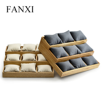 FANXI Solid Wood Jewelry Watch Display Holder with Microfiber Insert for showcasing Bracelet Bangle Jewelry Organizer
