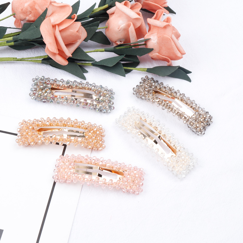 Oaoleer Hair Accessories New Women Rhinestone Beads Hair Clips Barrette   Headwear   Hairgrip Hair Holder Girls Fashion Headdress