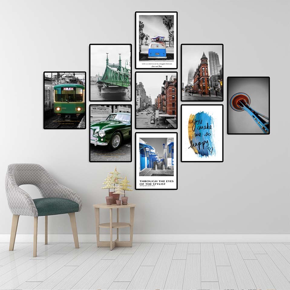 Nordic Home Decor Decoration Motivational Poster and Prints Life Quote Wall Art Canvas Painting Industrial style Blue car in Painting Calligraphy from Home Garden