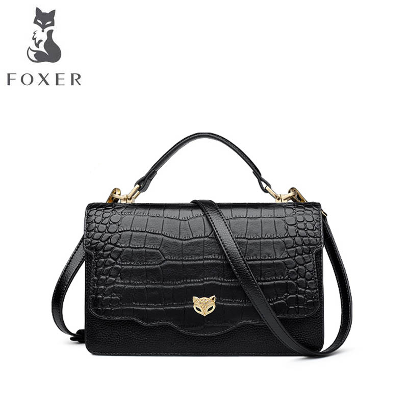 FOXER 2018 New Women Genuine Leather bag designer famous brand leather women Cowhide bag fashion tote leather shoulder bag