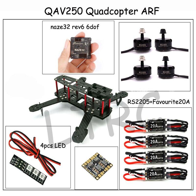 QAV ZMR250 3K Carbon Fiber NAZE 6DOF RVE6 RS2205 2300KV Favourite 20A EMAX
