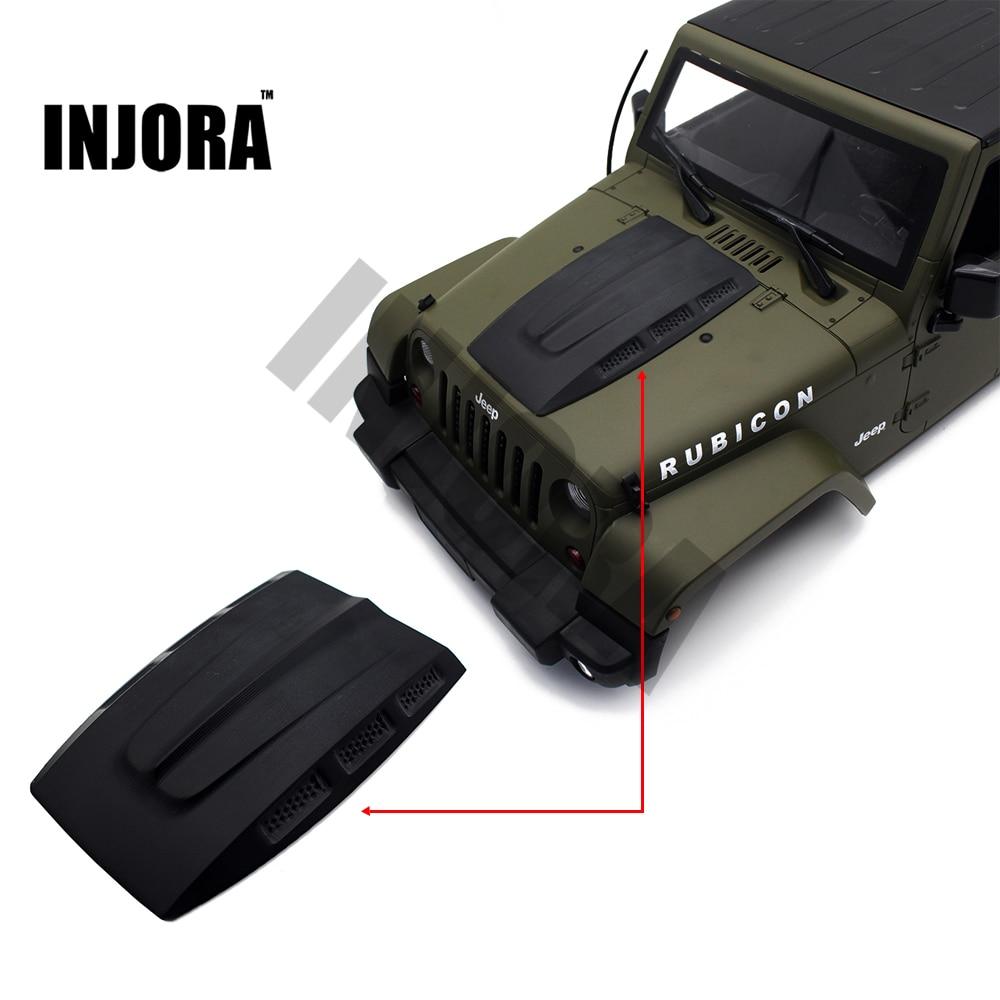 INJORA CNC Plastic Engine Hood for RC Rock Crawler 1:10 Axial SCX10 Tamiya CC01 RC4WD D90 Jeep Wrangler Rubicon Body Shell injora 2pcs 90mm metal shock absorber for 1 10 rc crawler axial scx10 rc4wd d90 tamiya cc01