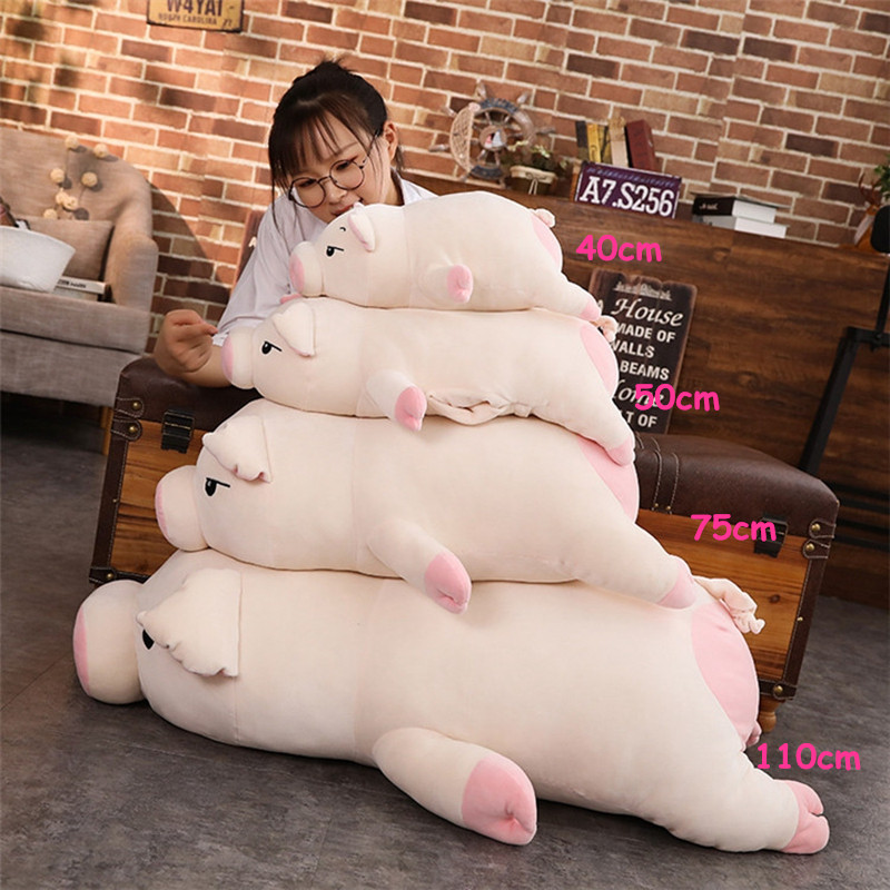 kawaii cartoon pig plush toy doll big stufefed fat pink pigs dolls sleeping pillow for children girls gift 43inch 110cm DY50445 (1)