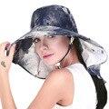 Estilo británico de Las Señoras Sombreros de Verano Cuello de Protección UV de Ala Ancha Beach Sun Viseras Packable Senderismo Alpino Caps Floral Sombrero Del Cubo