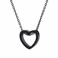 Fashion Heart Necklace For Women Black Gold Sliver Color Metal Hollow Simple Jewelry Pendant Wedding Gift pure 24k yellow gold pendant 3d craved hollow heart bracelet pendant 1g