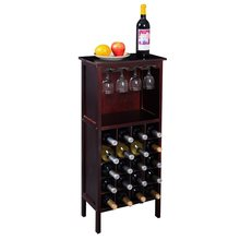 High Quality Burgundy Strong Solid Pine Wood Wine Cabinet Bottle Rack for 20 Bottles Glass Hangers Bar Cabinet HW51149(China)