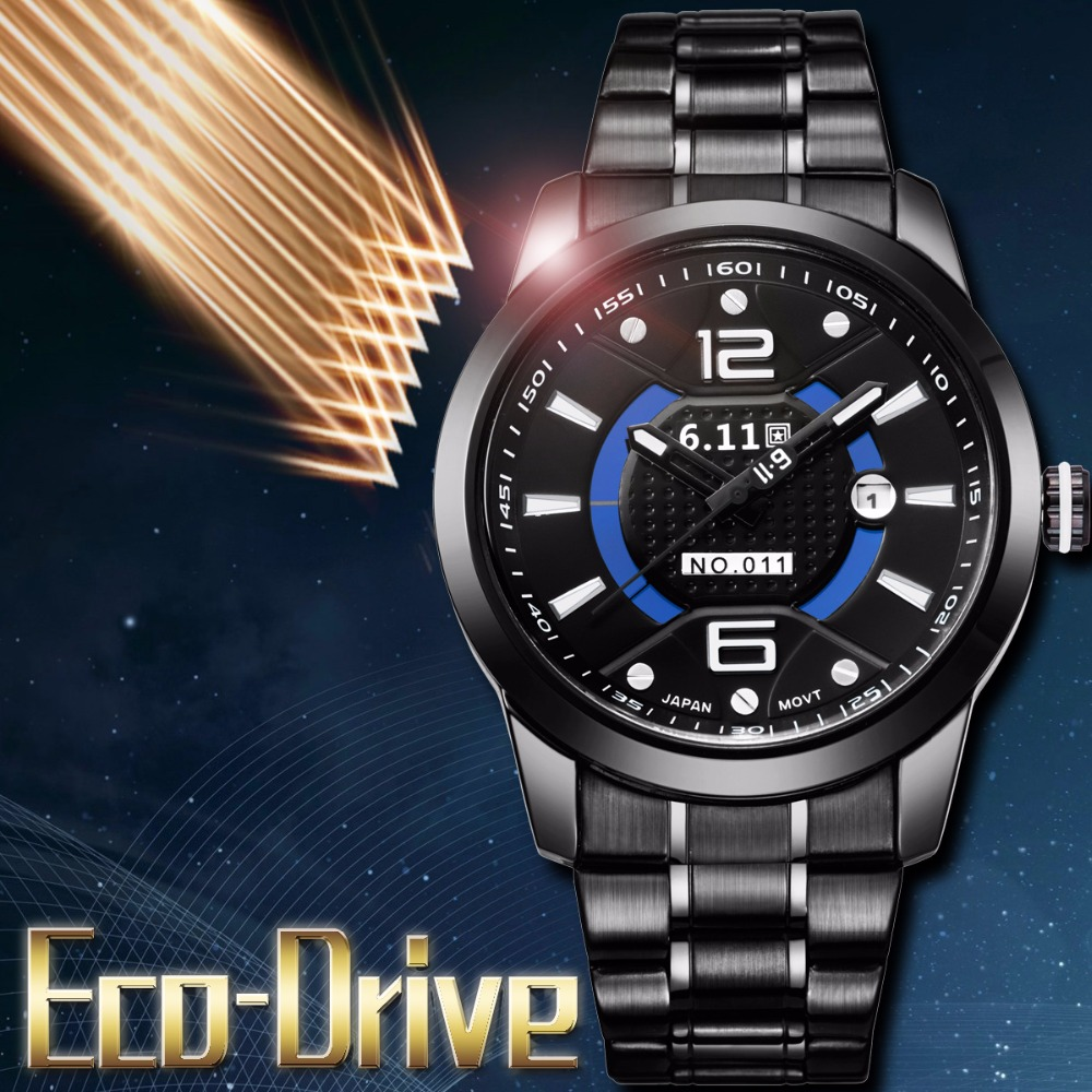 TIMI 2018 Men Fashion Solar-powered watch Full Steel Clock Army Military Outdoor Quartz Wrist Watch Casual Sports watches NO.011