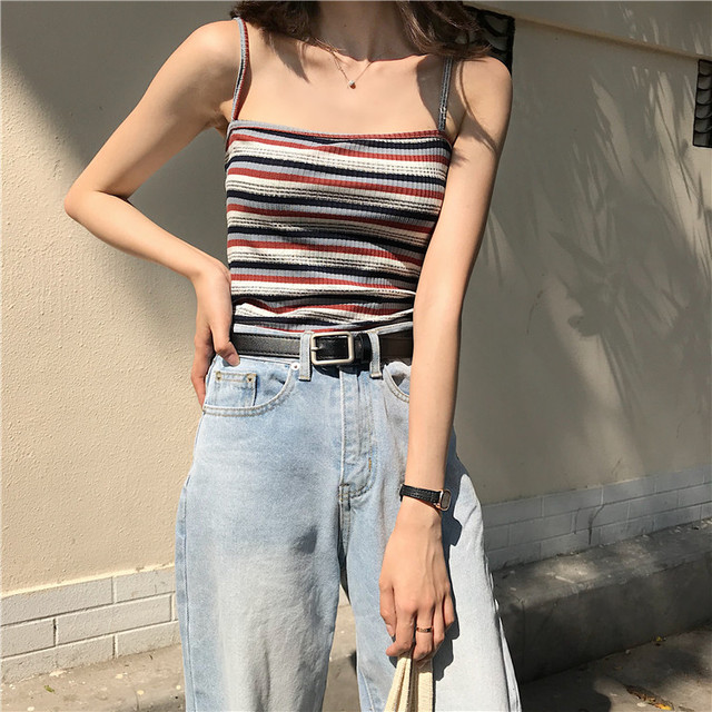 fec91f26b8 Lychee Girls Striped Print Knit Camis Crop Top Colorful Sleeveless Tank Tops  Spring Summer Casual Vintage Sexy Women Camisole