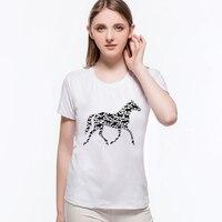 Summer Style Geometry Horse Women Summer Clothes Short Sleeve Slim Fit Women T Shirt Female Tops