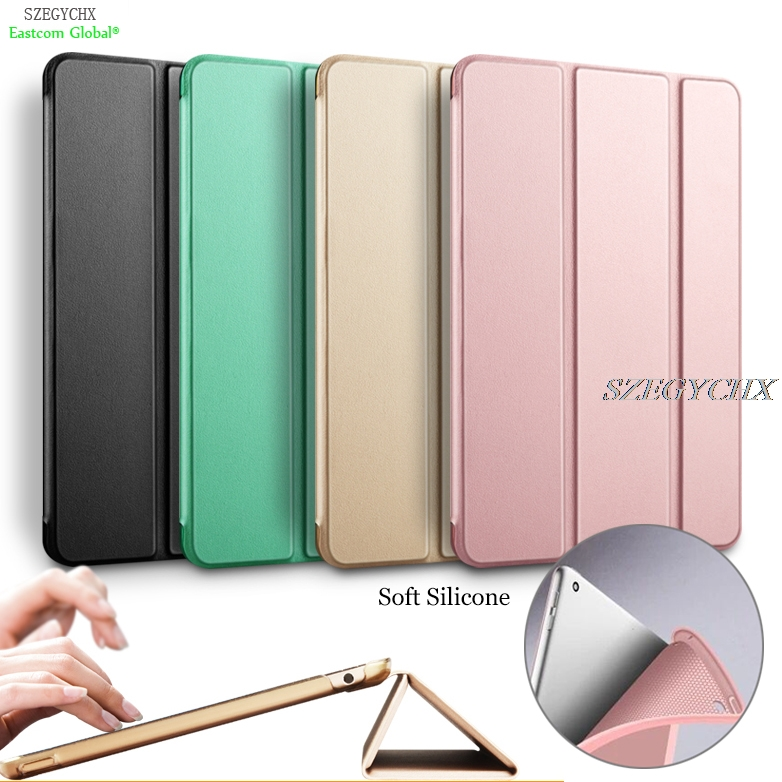 SZEGYCHX Cover For iPad Air 1 Silicone Soft Back Slim Pu Leather Smart Stant Case For apple iPad 5 Sturdy Stand Auto Sleep /Wake surehin nice tpu silicone soft edge cover for apple ipad air 2 case leather sleeve transparent kids thin smart cover case skin