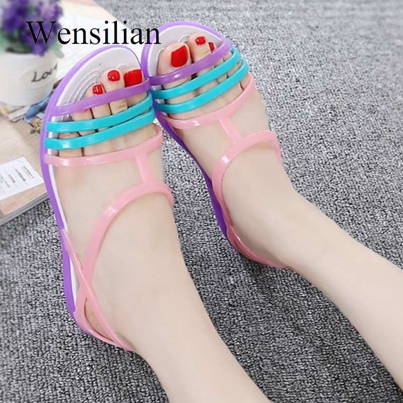 Women Sandals Flat Casual Jelly Shoes Sandalia Feminina Beach Candy Color Slides Ladies Flip Flops Slippers Sandalias Mujer