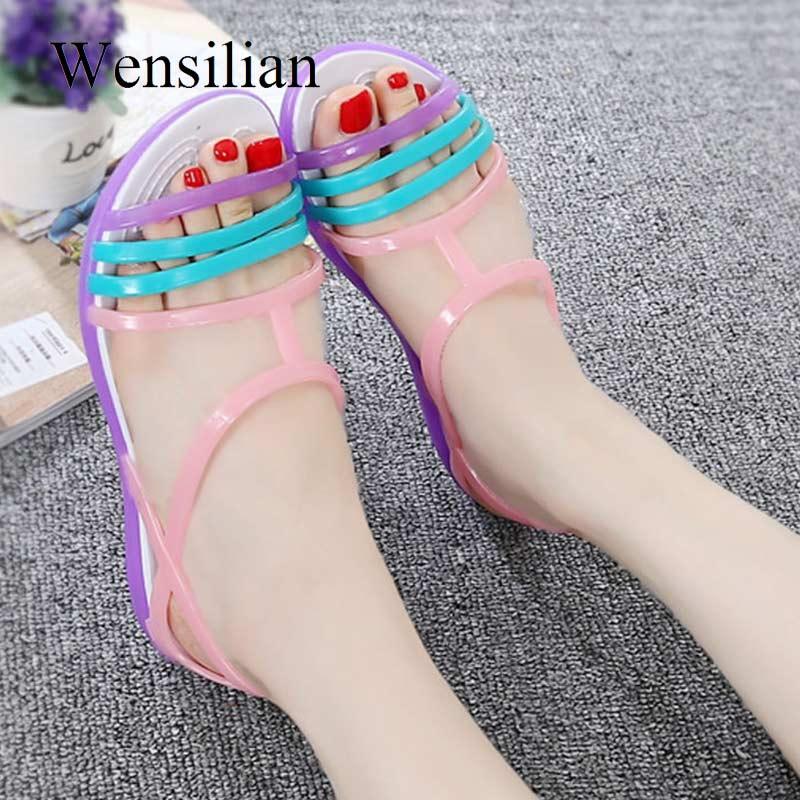Women Sandals Flat Casual Jelly Shoes Sandalia Feminina Beach Candy Color Slides Ladies Flip Flops Slippers Sandalias Mujer