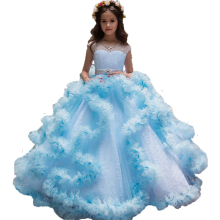 Gorgeous Little Girls Pageant Dresses Blue Fluffy First Communion Dress White Kids Evening Ball Gowns Tulle Flower Girl Dress