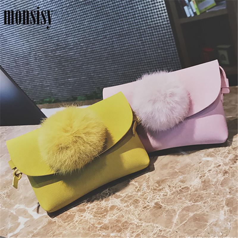 Monsisy Christmas Children Handbag Wallet Girl Purse Faux Suede Kid Shoulder Bag Candy Color Fur Ball Princess Mini Bag Gift сумка printio burn