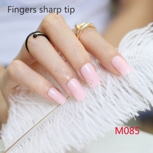 24pcs Hot sell fashion Long section Square head candy false nails decoration Pale skin M085