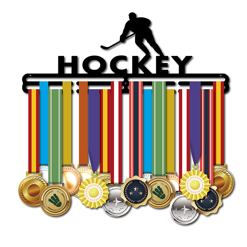 Hokej na lodzie wieszak na medal medal sportowy wyświetlacz stojak uchwyt na Medal 40 cm L dla 32 + medale w Przypinki i odznaki od Dom i ogród na AliExpress - 11.11_Double 11Singles' Day 1