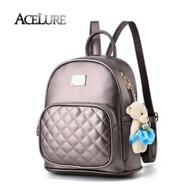 Personnalité sac d'école pour les adolescentes, femelle sac à dos voyage sac dames en cuir pu sac à dos mochila femmes beige sac à dos
