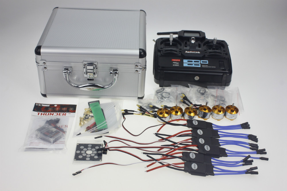 Y10335-F Silver Quadrocopter Case With T6EHP-E Transmitter 30A ESC T Plug A2212 1000KV Motor ESC Board QQ SUPER Flight Control 30a esc welding plug brushless electric speed control 4v 16v voltage