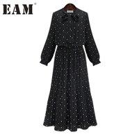 [EAM] 2018 nieuwe lente ronde hals effen zwarte chiffon dot losse grote maat jurk vrouwen mode tij JA23601M