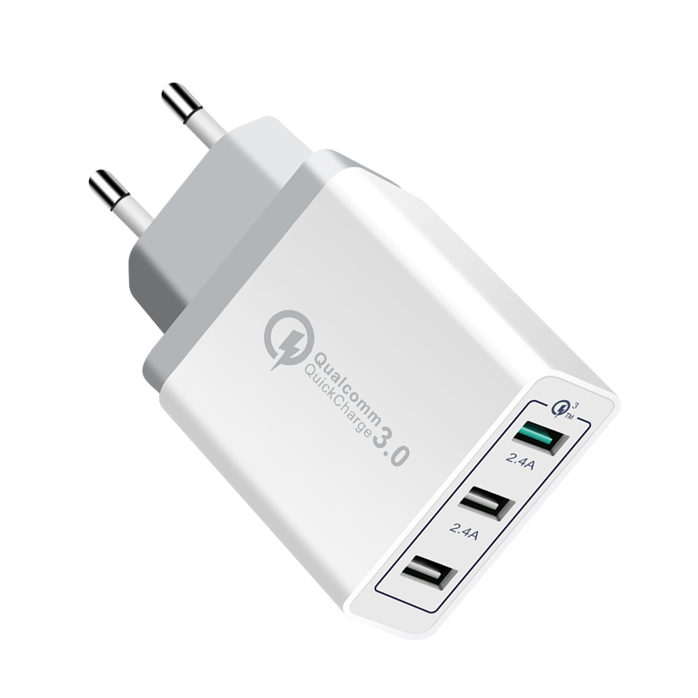 YOJOCK EU/US Plug 3 Ports Quick Charger QC 3.0 USB Wall Charger For iphone 7 X ipad Samsung S8 Huawei Xiaomi Fast Charger QC3.0
