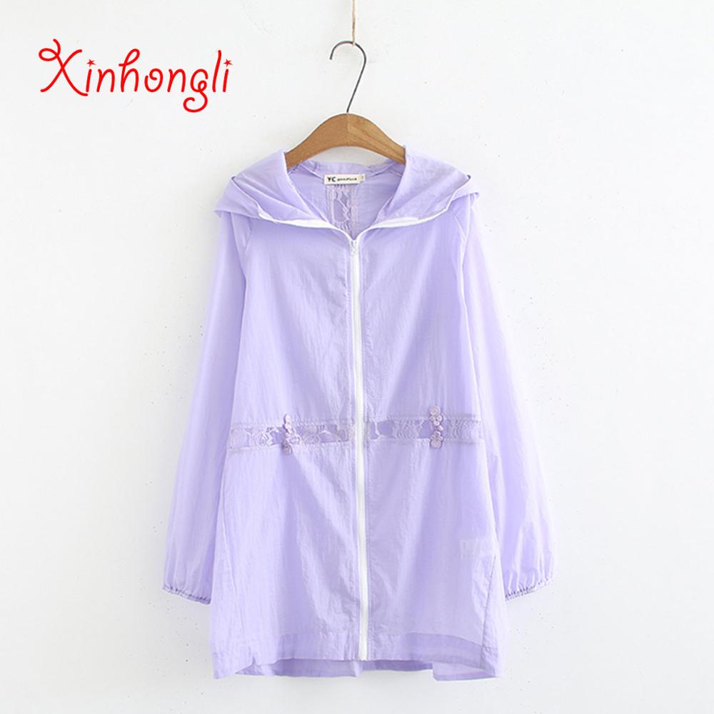 Plus size hooded women long summer summer   trench   coat 2019 casual ladies solid white red purple thin   trench   top female